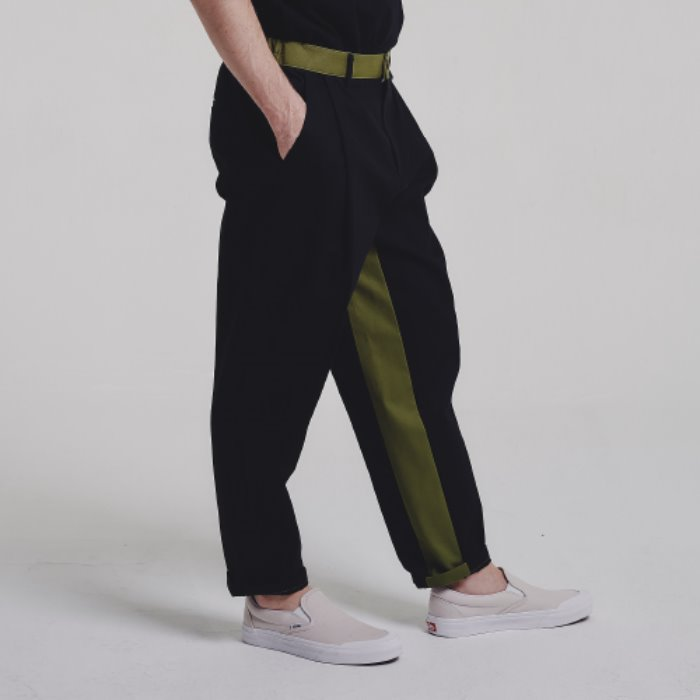 Mixed tapered pants_BLACK