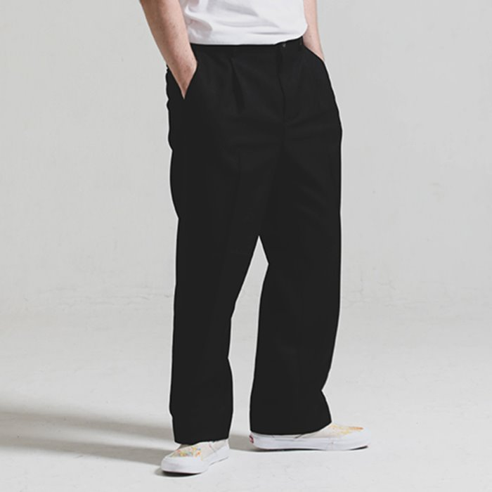 [헤비TR원단]Heavy TR wide SLACKS_BLACK