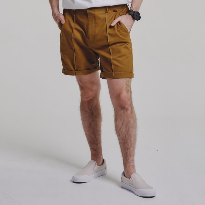 PINTUCK shorts_CAMEL