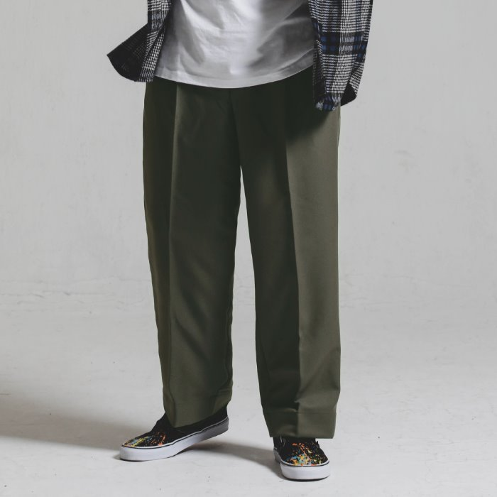 [헤비TR원단]Heavy TR wide SLACKS_KHAKI