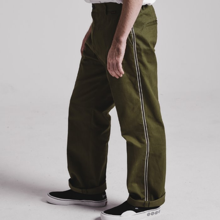 Side tape semi-wide pants_OLIVE KHAKI