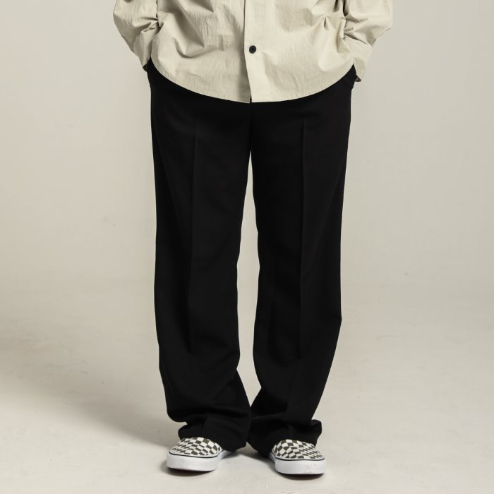 Long wide slacks_BLACK