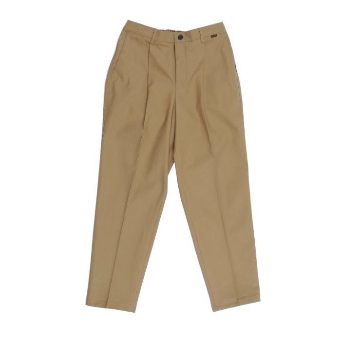 one tuck tapered cotton slacks_MOCHA BG