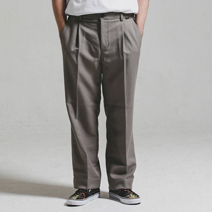 [헤비TR원단]Heavy TR wide SLACKS_WARM GREY